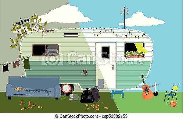 Camper Trailer Home Before And After Renovation EPS 8 Vector Illustration