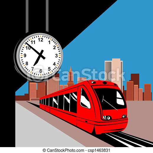 train at the station illustration of a city train rh canstockphoto com Train Station Signs train station pictures clip art
