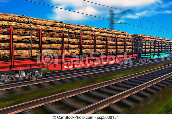 train, bois, fret - csp5038154