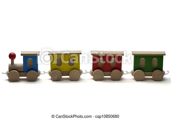 train bois, jouet, fond blanc - csp10850680