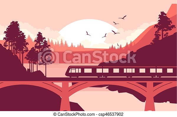Train Bridge River Illustration Of A Locomotive A Train Riding At High Speed On A Railway Bridge In A Mountain Wilderness Canstock