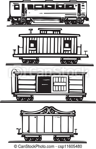 Train Car Collection Woodcut Style Images Of Railroad