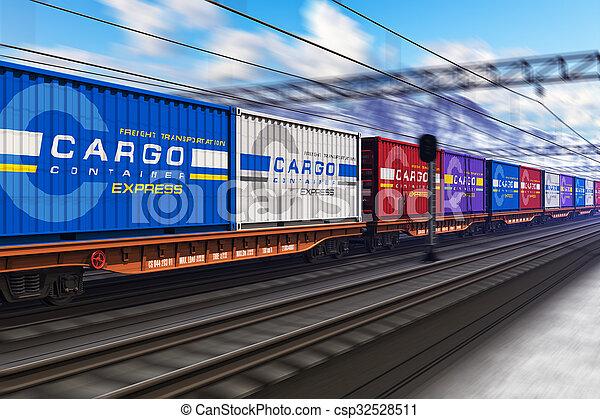 train cargaison, fret, récipients - csp32528511
