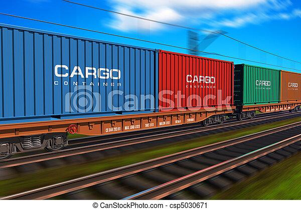 train cargaison, fret, récipients - csp5030671