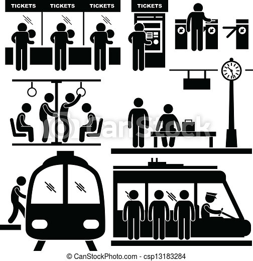 Train Commuter Station Subway Man - csp13183284