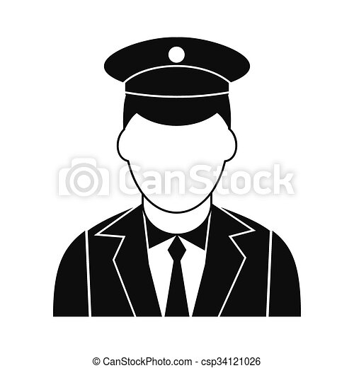 train conductor black simple icon isolated on white vector rh canstockphoto com Train Conductor Animated railroad conductor clipart