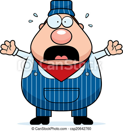 train conductor panic a cartoon train conductor worried and clip rh canstockphoto com
