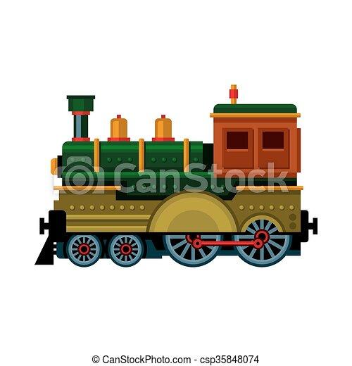 Retro-Zug. Dampflokomotive. Vector - csp35848074