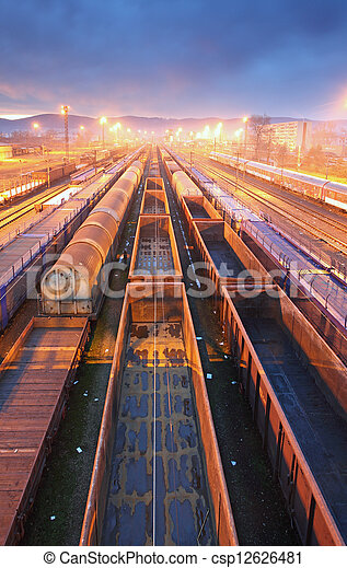 Train Freight transportation platform - Cargo transit - csp12626481