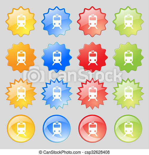 train icon sign. Big set of 16 colorful modern buttons for your design. - csp32628408