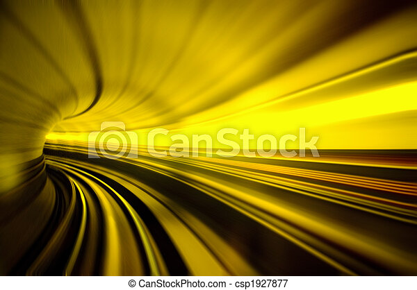 train moving fast in tunnel - csp1927877