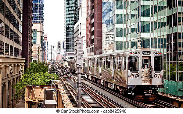 Train moving on the tracks in Chicago - csp8425940