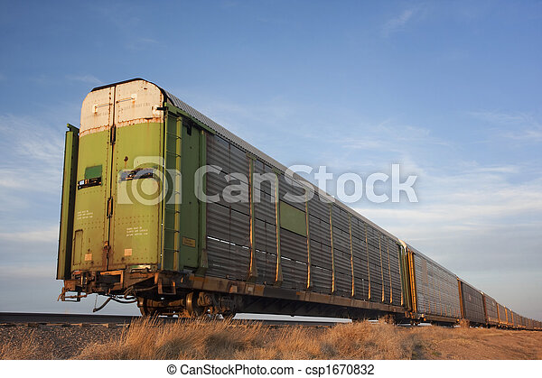 train of old stock rail cars for livestock transportation  - csp1670832