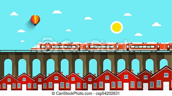 Train on Bridge. Abstract VEctor Landscape. City with Houses. - csp54202631