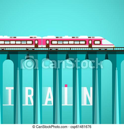 Train on High Bridge. Railway Vector Flat Design Illustration. - csp61481676