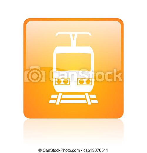train orange square glossy web icon - csp13070511