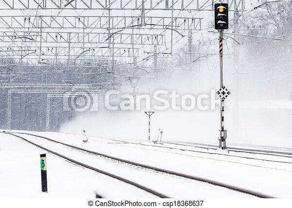 train passager, neige - csp18368637
