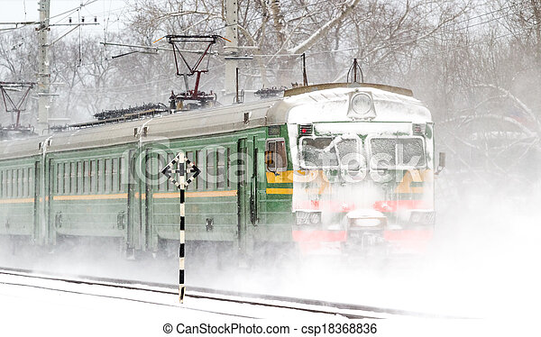 train passager, neige - csp18368836