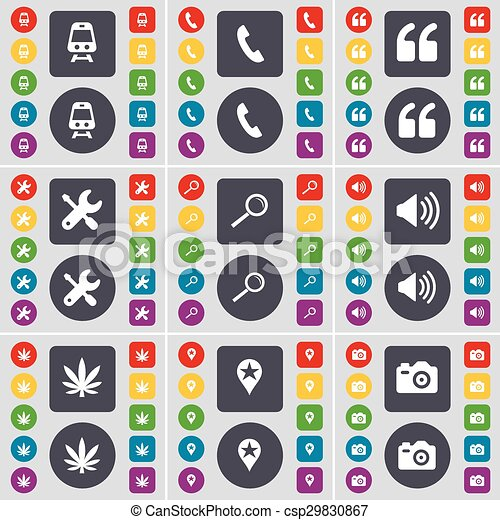 Train, Receiver, Quotation mark, Wrench, Magnifying glass, Sound, Marijuana, Checkpoint, Camera icon symbol. A large set of flat, colored buttons for your design. Vector - csp29830867