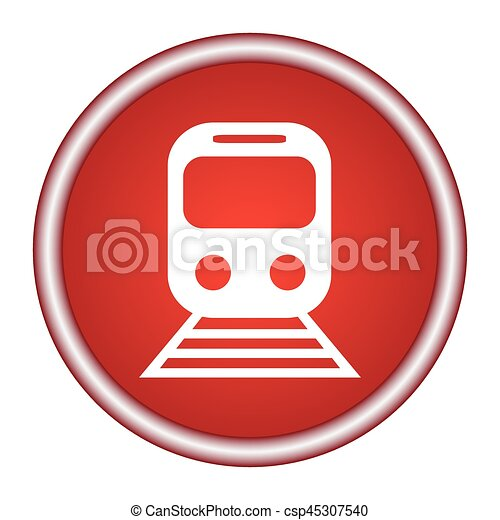 train red vector icon, circle flat design internet button, web and mobile app illustration - csp45307540