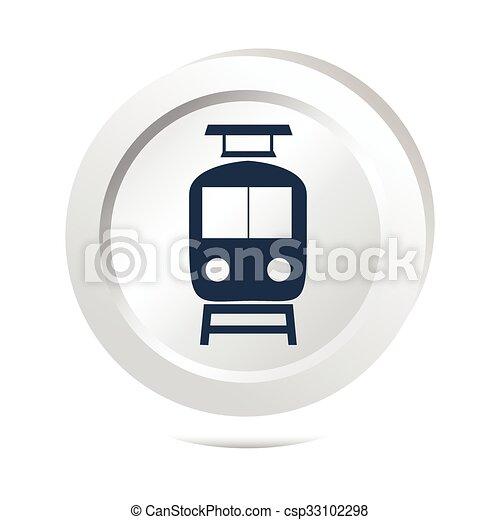 Train sign button icon - csp33102298