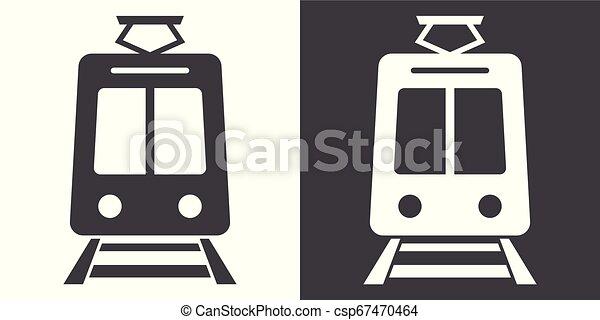 Train sign icon - csp67470464