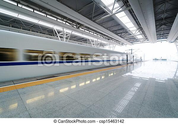 train stop at railway station  - csp15463142