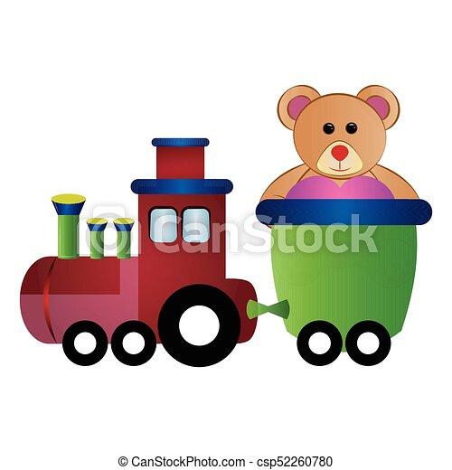 Train toy with a teddy bear - csp52260780
