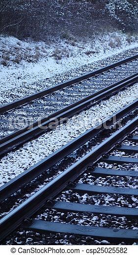 Train Tracks in Snow - csp25025582