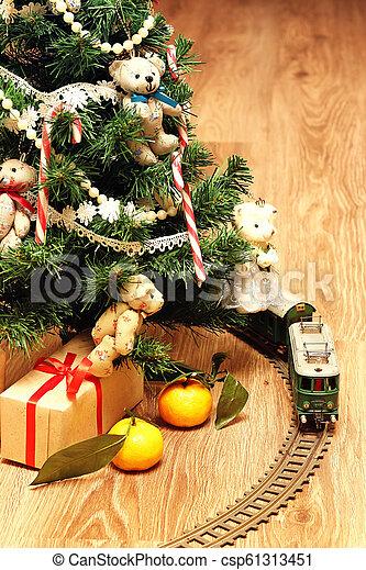 train under tree gift - csp61313451