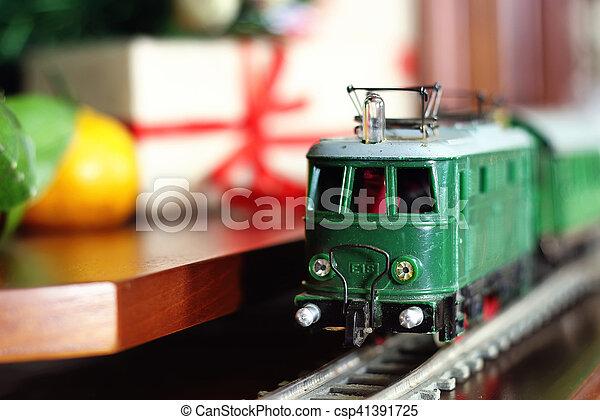train under tree gift - csp41391725