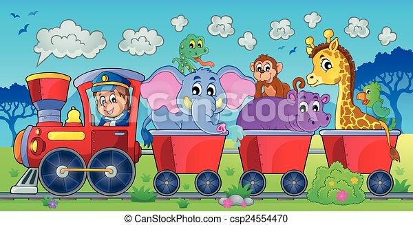 Train with animals in landscape - csp24554470