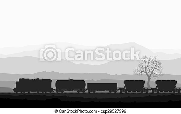 Train with freight wagons over huge mountains. - csp29527396