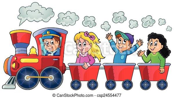 Train with happy kids - csp24554477