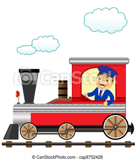 cheerful cartoon train with smile conductor thumb up rh canstockphoto com