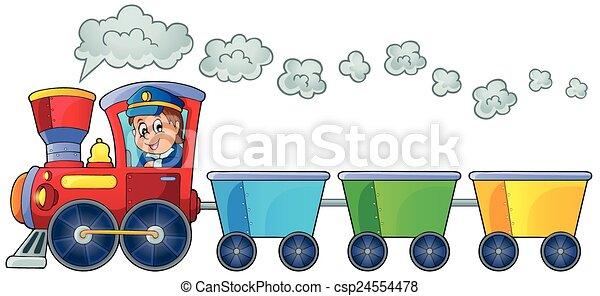 Train with three empty wagons - csp24554478