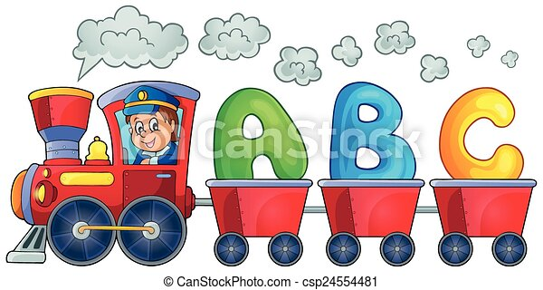 Train with three letters - csp24554481