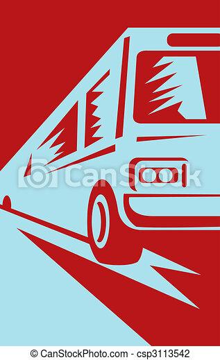 trainer, zuschauer, bus, auf, gegen, kommen - csp3113542