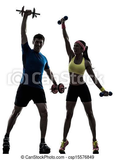 trainieren, workout, trainer, mann- frau, fitness - csp15576849