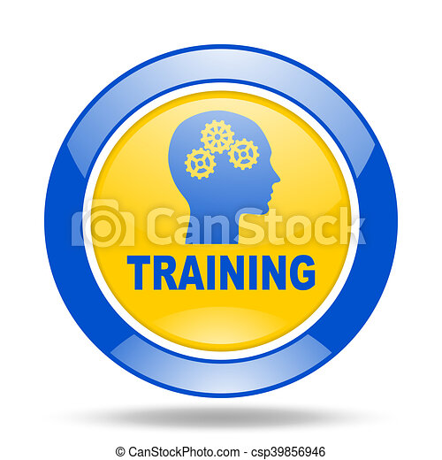 training blue and yellow web glossy round icon - csp39856946