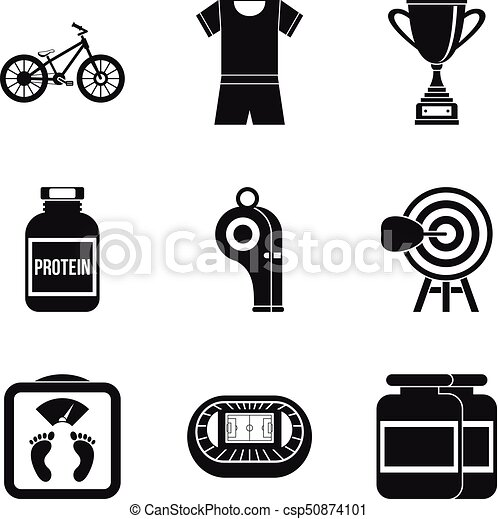 Training boxing icons set, simple style - csp50874101
