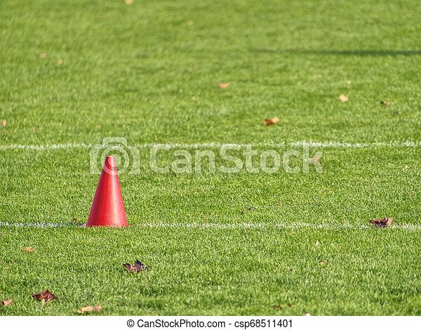 Training equipment on the green field of the stadium - csp68511401