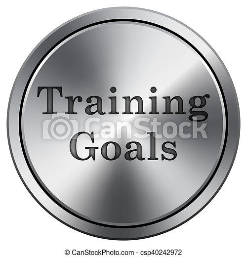Training goals icon. Round icon imitating metal. - csp40242972