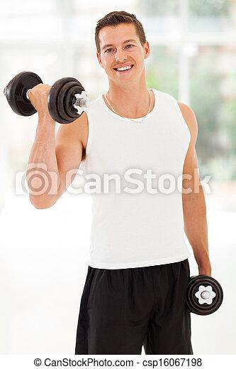 training, hanteln, junger mann - csp16067198