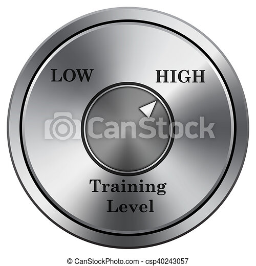 Training level icon. Round icon imitating metal. - csp40243057