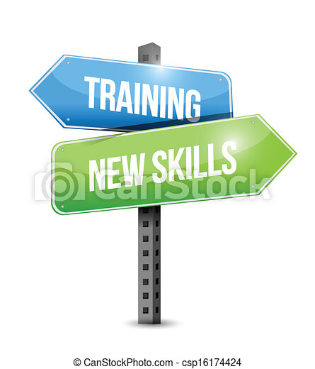 training new skills road sign illustration design - csp16174424