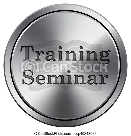 Training seminar icon. Round icon imitating metal. - csp40243062