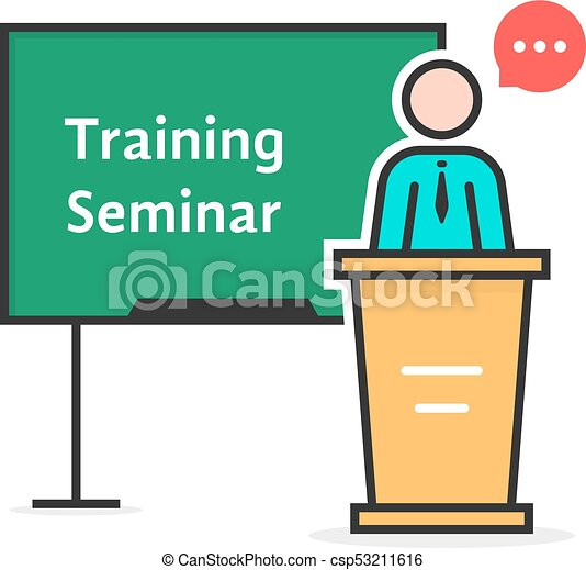 training seminar with linear spokesman concept of e learning rh canstockphoto com