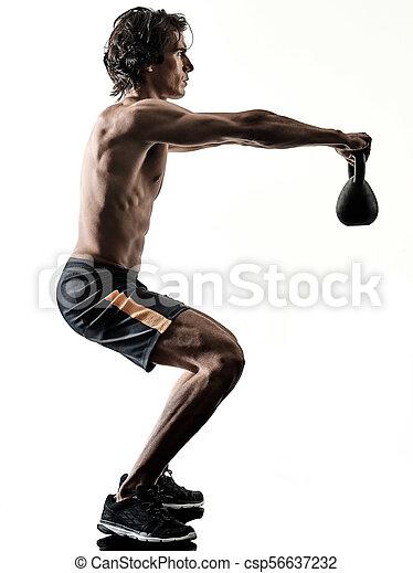 training, silhouette, freigestellt, weitghs, fitness, übungen, weißes, mann - csp56637232