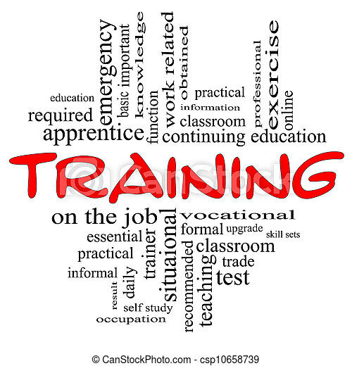Training Word Cloud Concept in red & black - csp10658739
